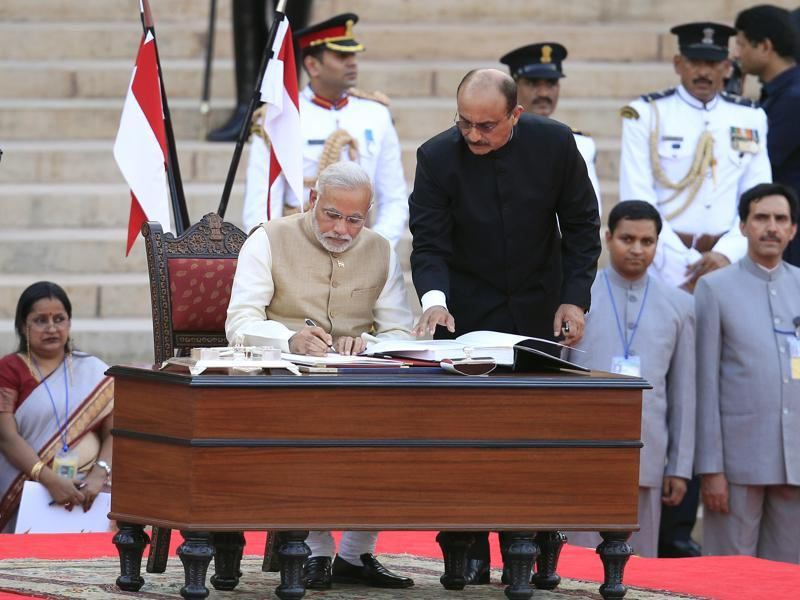 After becoming the Prime Minister, Modi has veered towards a more formal-looking uniform of full-sleeved kurtas, fitted pyjamas and Nehru jackets, which was his go-to attire for his swearing in ceremony. The PM is said to be particular about his clothes and pays attention to detail.  (Ajay Aggarwal/ Hindustan Times)