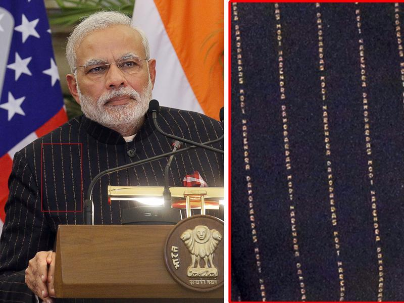 The Prime Minister's sartorial choices have seen their fair share of controversy. During India's  65th Republic Day celebrations, Modi was critcised for wearing a  pin-stripe suit which reportedly cost Rs 10 lakh and was monogrammed with his name. The suit was later auctioned off for a whopping Rs 4.31 crores.  (Gurinder Osan/ Hindustan Times)