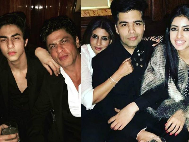 Best buddies for life: Filmmaker Karan Johar turned 44 on Wednesday and hosted a private bash in London. Shah Rukh Khan, his sons Aryan and AbRam.  Navya Naveli  and Shweta Bachchan, too, attended the party. (iNSTAGRAM)
