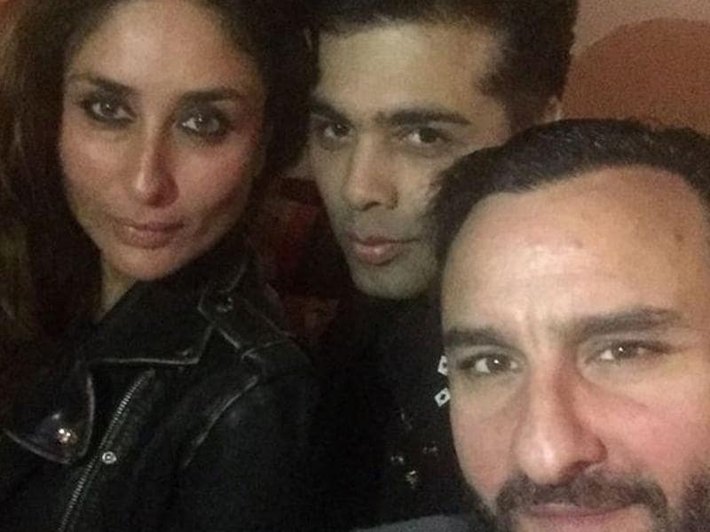 Kareena Kapoor and Saif Ali Khan pose for a picture with the filmmaker. (Instagram)
