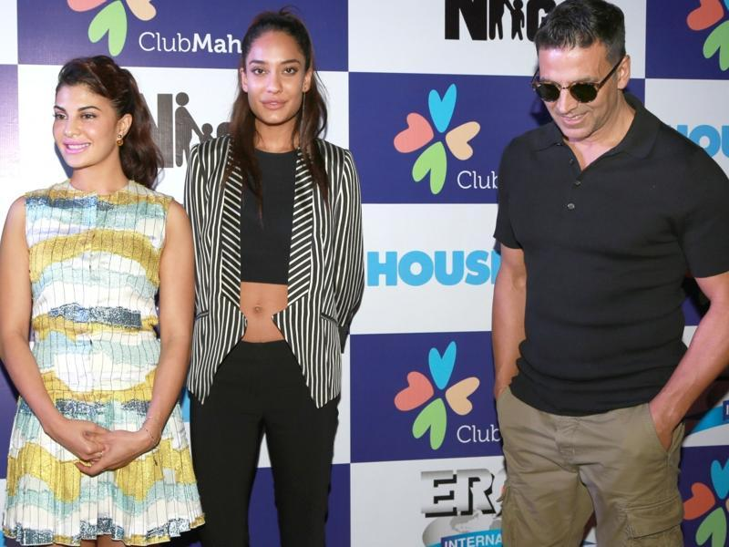 Akshay Kumar, Jacqueline Fernandez and Lisa Haydon during a promotional event of their upcoming film Housefull 3 in New Delhi. (IANS)