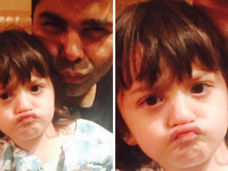 Little AbRam Khan with Karan Johar. Our birthday boy sure knows how to pout.