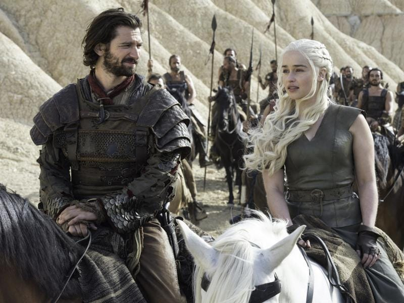 Daario Naharis and Daenerys Targaryen with their new army in Game of Thrones Season 6 Episode 6 Blood of My Blood. (HBO)