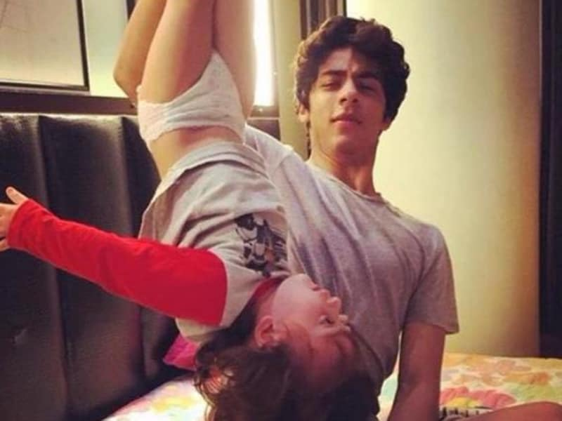 Aryan Khan having some fun with AbRam.  (Twitter)
