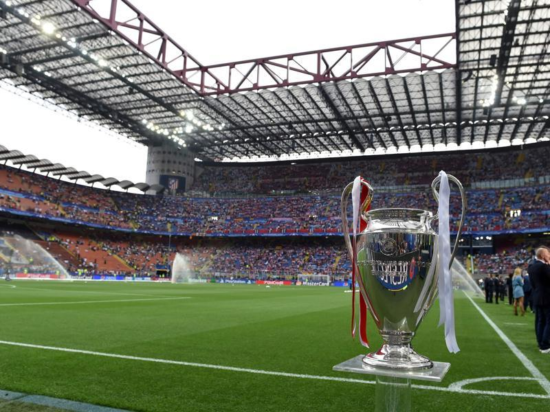 The Uefa Champions League trophy is on display ahead of the final football match between Real Madrid and Atletico Madrid. (AFP Photo)