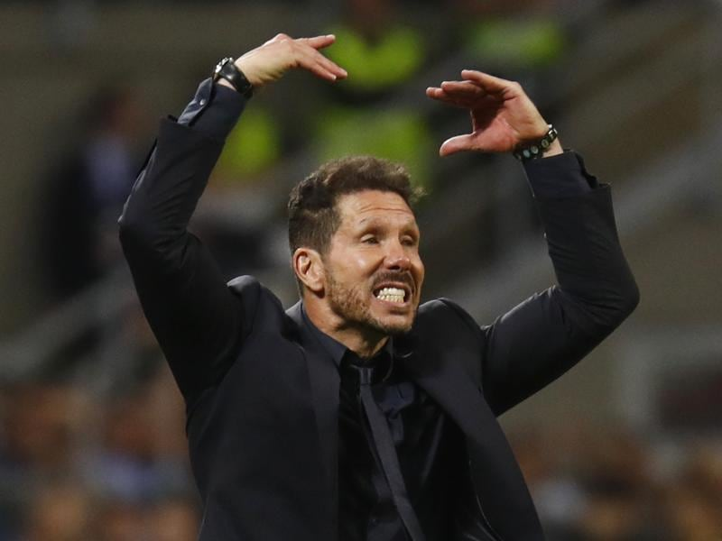 Atletico Madrid coach Diego Simeone gestures during the Uefa Champions League final match against Real Madrid. (Reuters Photo)