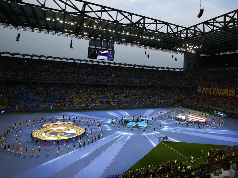 General view of the opening ceremony ahead of the Uefa Champions League final between Real Madrid and Atletico Madrid. (Reuters Photo)
