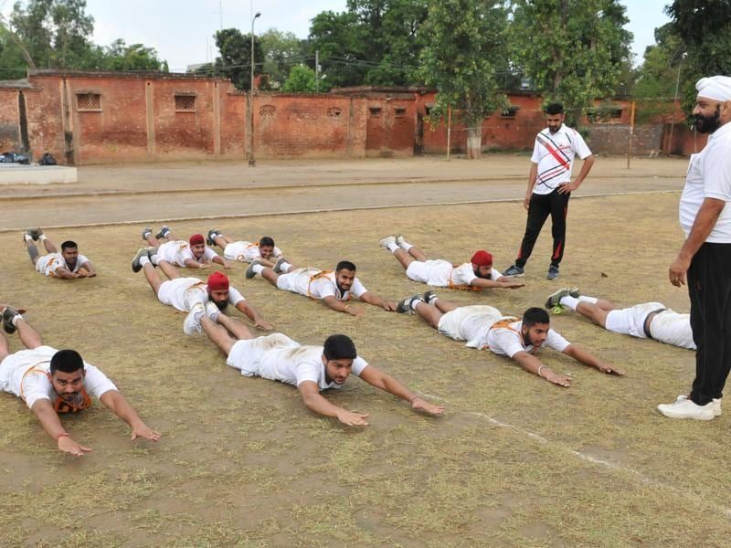 The camp saw aspirants undertake athletics, field exercises, long jump etc.  (Pardeep Pandit/HT Photo)