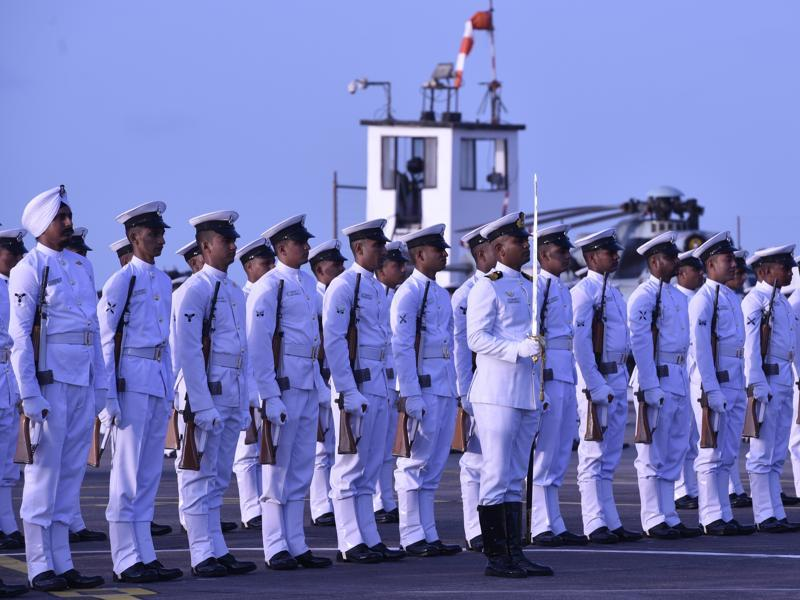 Navy personnel during a parade as Vice Admiral Girish Luthra takes the charge as Flag officer commanding in-chief of Western Naval Command in Mumbai on Monday, May 30, 2016.  (Anshuman Poyrekar)