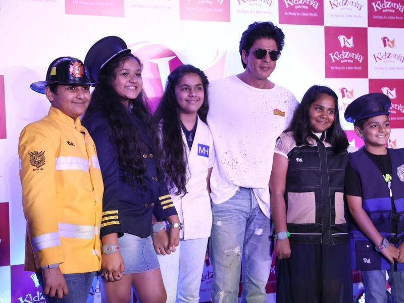 Shah Rukh Khan poses with kids at the launch of KidZania in Noida. (IANS)