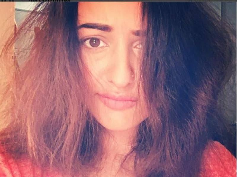 "Can you guess who this is? Sonakshi Sinha. Well, her explanation for the look is, ""I swear all i did was brush it!!!!! #splat #ohnonotagain #hairwhyyoudothis."" (Instagram)"
