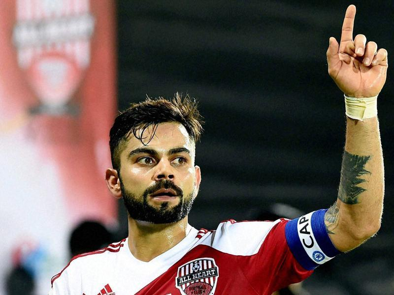 Virat Kohli during a charity football match in Mumbai on Saturday. (PTI Photo)