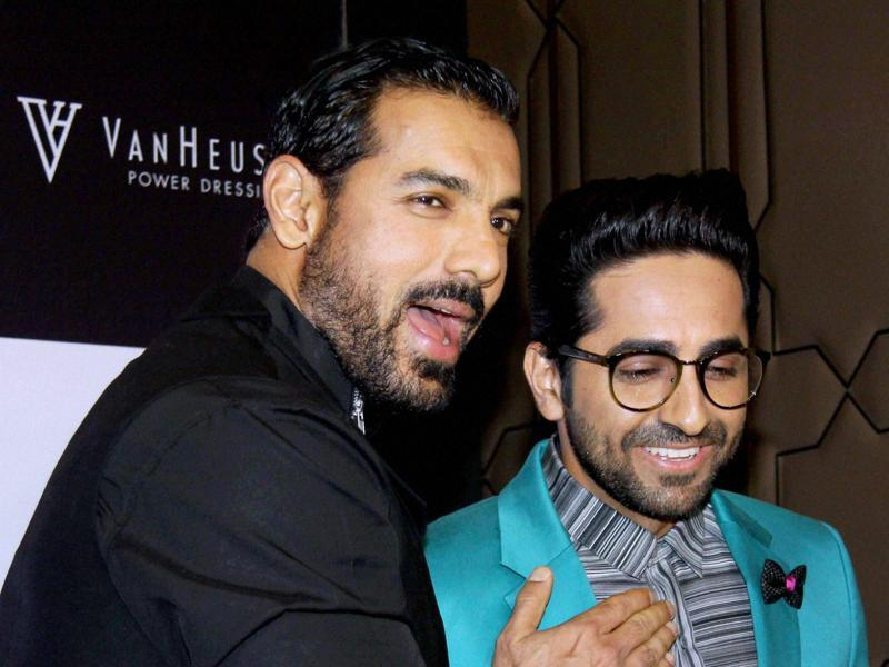 Bollywood actors John Abraham and Ayushmann Khurrana attend GQ Best Dressed Men 2016 Awards in Mumbai on Thursday. (PTI)