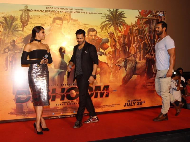 Actors Jacqueline Fernandez, Varun Dhawan and John Abraham during the trailer launch of film Dishoom in Mumbai. (Photo: IANS)