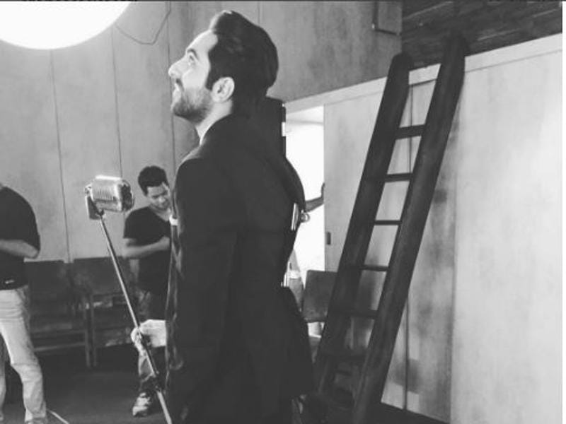 "Taking a break from his shoot, Ayushmann Khuranna revealed the 'real story' on his Instagram account: ""Wearing an oversized jacket with clamps."" (Instagram)"