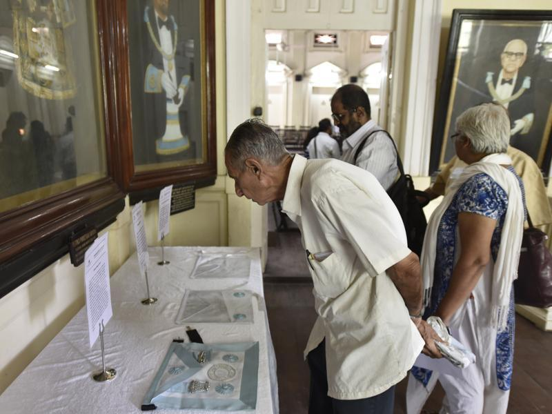 It was precisely to clear up misconceptions that senior Masons took the visitors through the halls and exhibits on Sunday, with guided tours every hour and a viewing hall where messages from Masons from around the world played on a loop (Kunal Patil/htphoto)