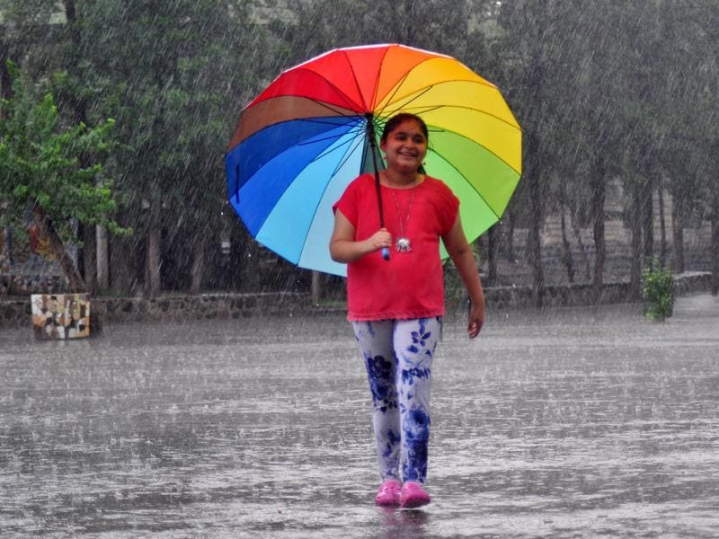 Little kids, without a worry in the  world,  made the most of the lovely, cool weather.  (Karun Sharma/ HT Photo )