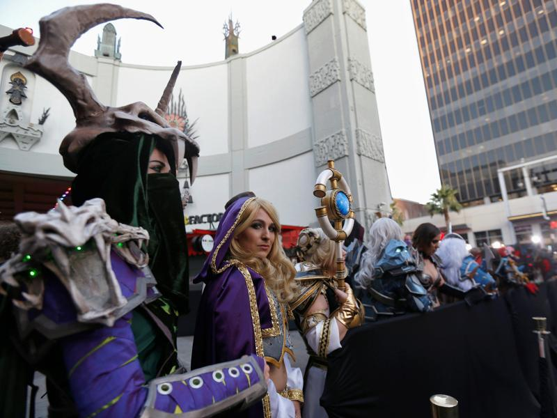 Cosplay enthusiasts wait at the Hollywood premiere of the movie Warcraft. (REUTERS)