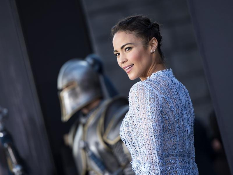Actress Paula Patton, who plays Garona Halforcen, at the premiere of the epic fantasy film Warcraft in Hollywood, California. (AFP)