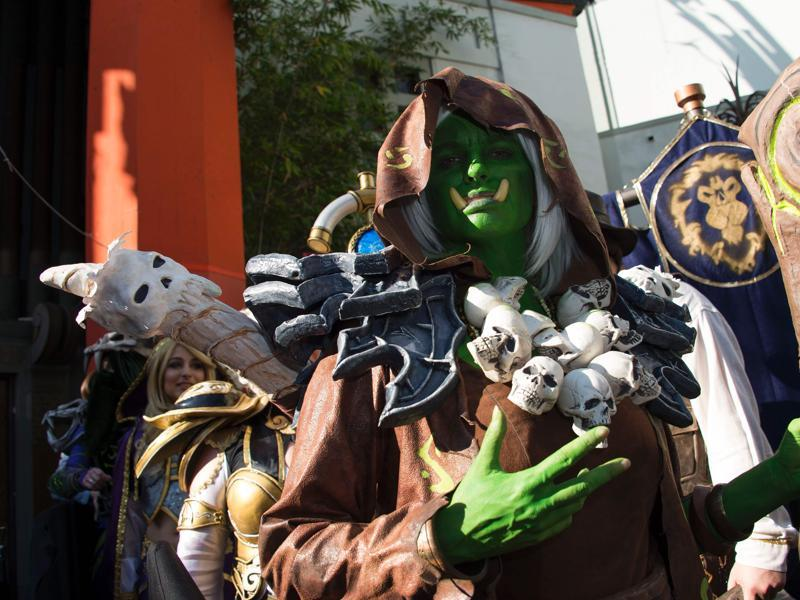 Fans attend the premiere of Warcraft in full costume at TCL Chinese Theatre in Hollywood, California. (AFP)
