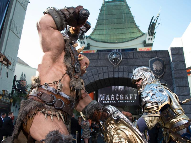 Statues are seen in front of the Chinese Theatre during the premiere of the epic fantasy film Warcraft, based on the video game series of the same name. (AFP)