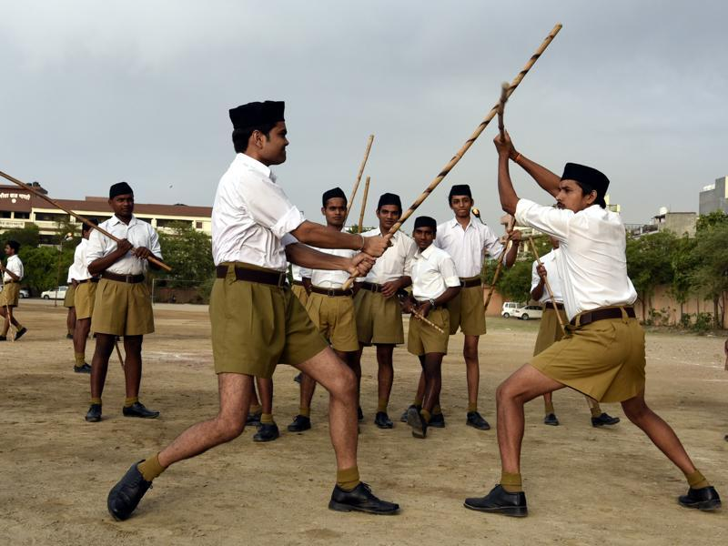 Volunteers get  training in many self-defence and martial skills during the camp, (Sonu Mehta/HT Photo)