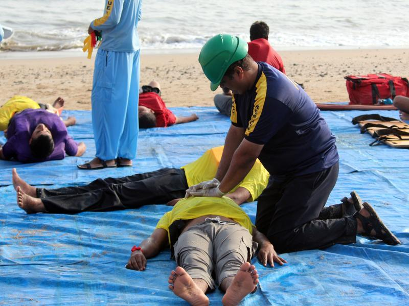 Tuesday's was a full drill that included the protocol to revive people who had nearly drowned. (Satyabrata Tripathy)