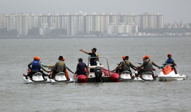 With the monsoon expected in Mumbai anytime now, the Fire Brigade got busy practising its moves to rescue those who  flounder in the rough seas. (Satyabrata Tripathy)