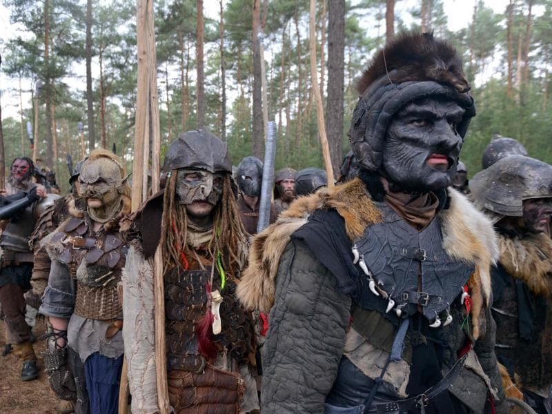 Several hundred people arrived in the forest to re-enact the famous battle from Tolkien's novel that was published for the first time in 1937.  (AFP)