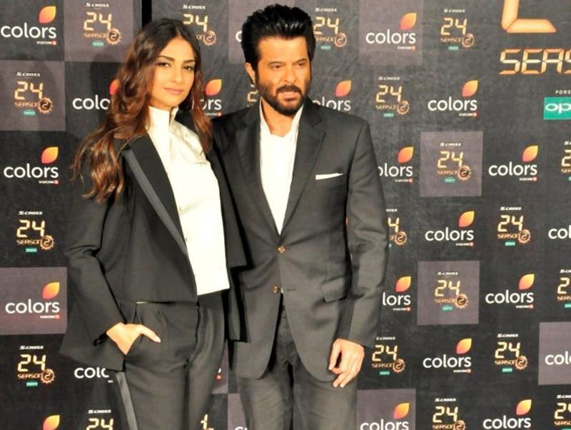 Actors Sonam Kapoor and Anil Kapoor during press conference of TV serial 24 season 2 in Mumbai.  (IANS)