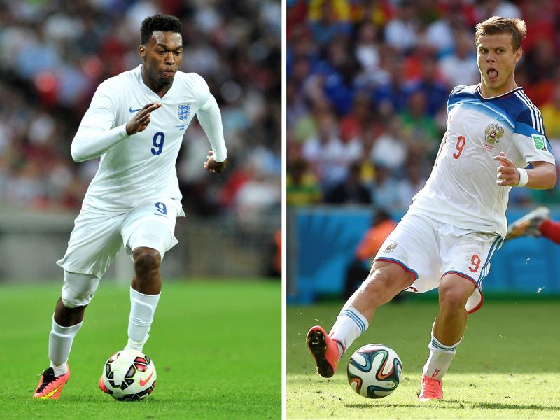 A combination of two file pictures shows England's forward Daniel Sturridge (L) and Russia's forward Alexander Kokorin. (AFP)