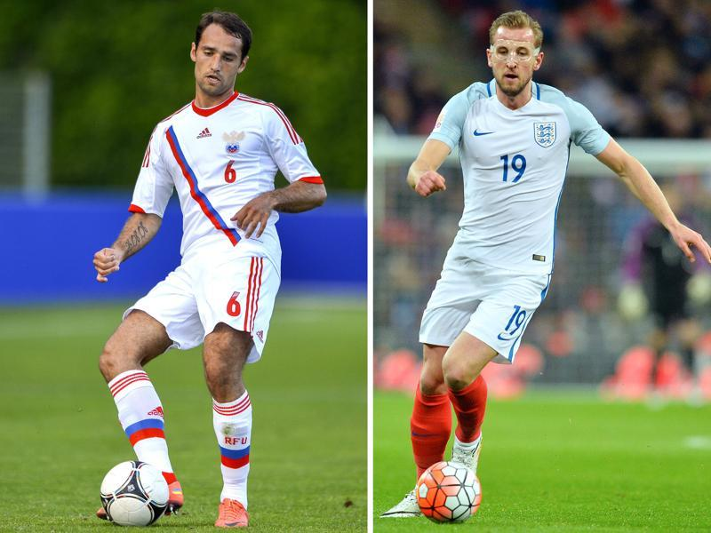 A combination of two file pictures shows England's striker Harry Kane (R) and Russia's Roman Shirokov. (AFP)