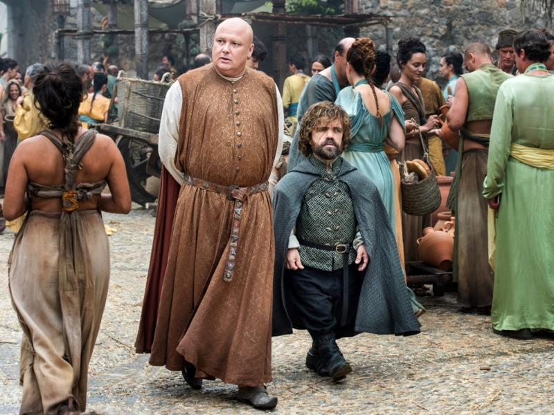 Looks like Dany is still not home seeing how Tyrion-Varys are still strolling on the streets of Mereen. (HBO)
