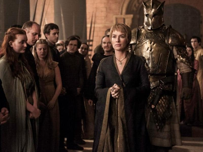 Back in King's Landing, Cersei is parading the Mountain around for some reason. By the way, what are those dents on his armour? (HBO)