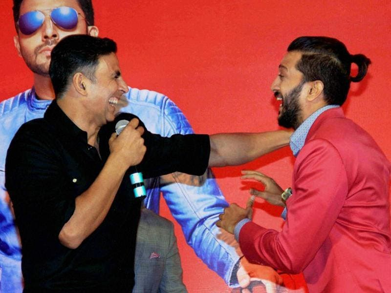 Akshay Kumar and Riteish Deshmukh during a press conference to celebrate the success of film Housefull 3 in Mumbai. (PTI)