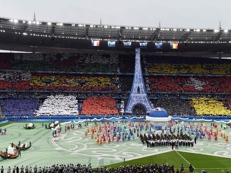 A general view shows the opening ceremony prior to the kick off for the Euro 2016 group A football match between France and Romania at Stade de France, in Saint-Denis, north of Paris. (AFP)