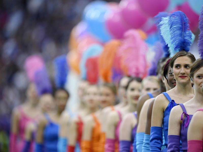 Dancer perform during the opening ceremony of the Euro 2016 group A football match between France and Romania at Stade de France, in Saint-Denis, north of Paris. (AFP)