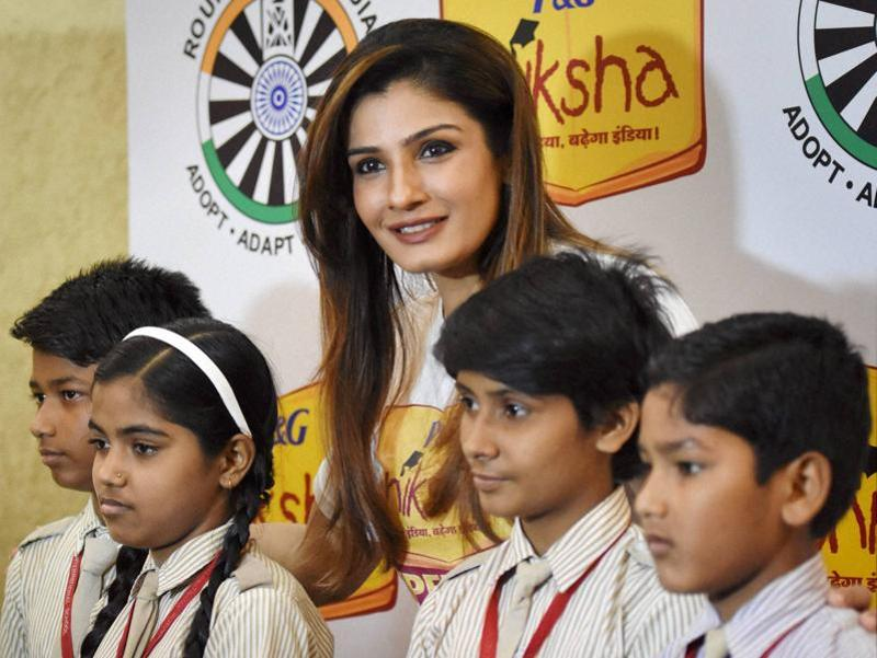 Raveena Tandon at a promotional event of Shiksha Campaign in New Delhi. (PTI)