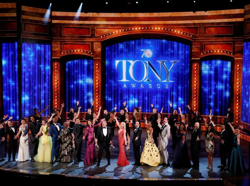 Show host James Corden performs with all the nominees during the American Theatre Wing's 70th annual Tony Awards in New York. (REUTERS)