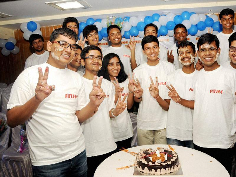 Students celebrate their success in IIT-JEE advanced, in Ranchi on Sunday.  (PTI )