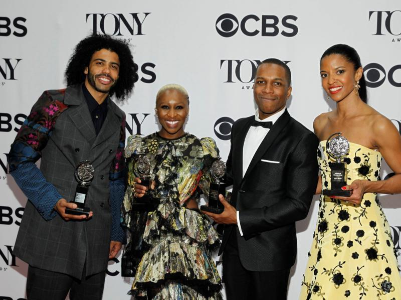 Actors Daveed Diggs holds his award for Best Performance by an Actor in a Featured Role in a Musical, Cynthia Erivo holds her award for Best Performance by a Leading Actress in a Musical, Leslie Odom, Jr. holds his award for Best Performance by a Leading Actor in a Musical and Renee Elise Goldsberry with the award for Best Performance by a Featured Actress in a Musical, all for Hamilton. (REUTERS)
