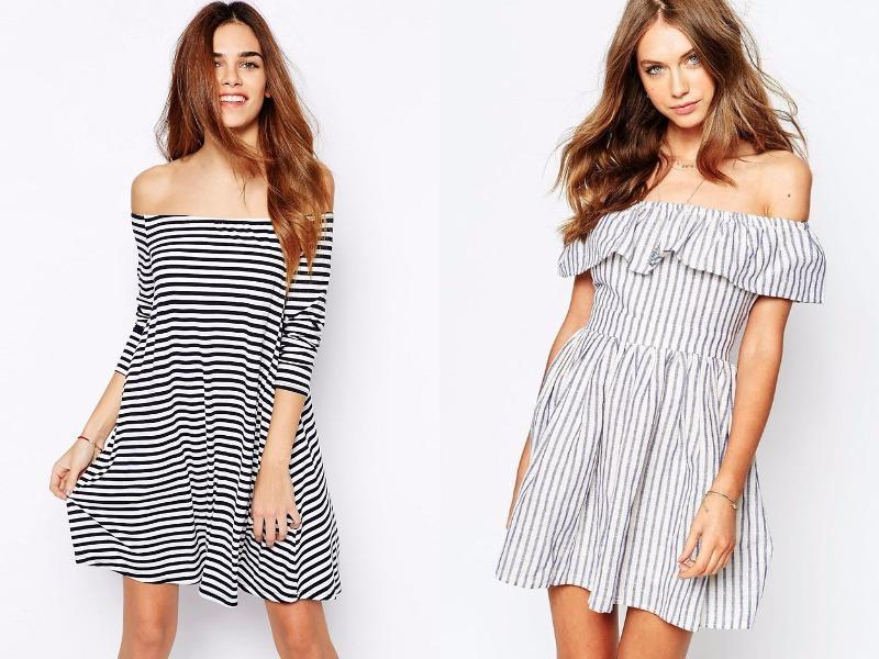 Striped off-the-shoulder dress: Stripes, a muted palette, and a curve-hugging fit mold this dress into the perfect mashup of French insouciance and American nautical style. (Pinterest)
