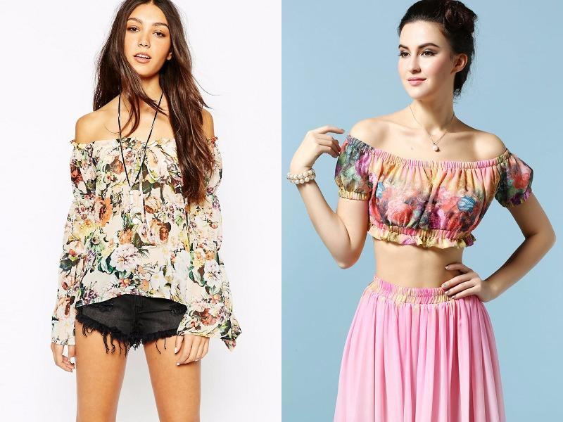 Floral off-the-shoulder top: Tool around town or your next seaside vacation sporting this top. (Pinterest)