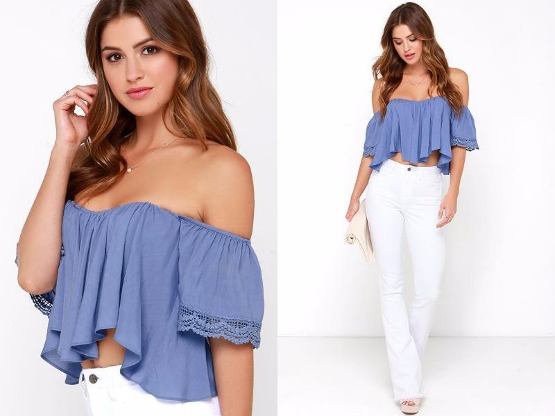 Periwinkle blue crop top: Simple yet impactful, this crop top is the ultimate in chic, understated style. (Pinterest)
