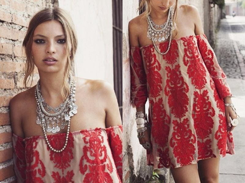 Red embroidery mini dress: Dip a toe into the wild side of style with a bohemian red embroidery off-shoulder shift mini dress, whose rich rouge embroidery is a statement in itself. (Pinterest)