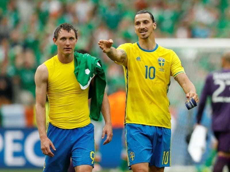 Sweden's Kim Kallstrom and Zlatan Ibrahimovic after the game. (Reuters)
