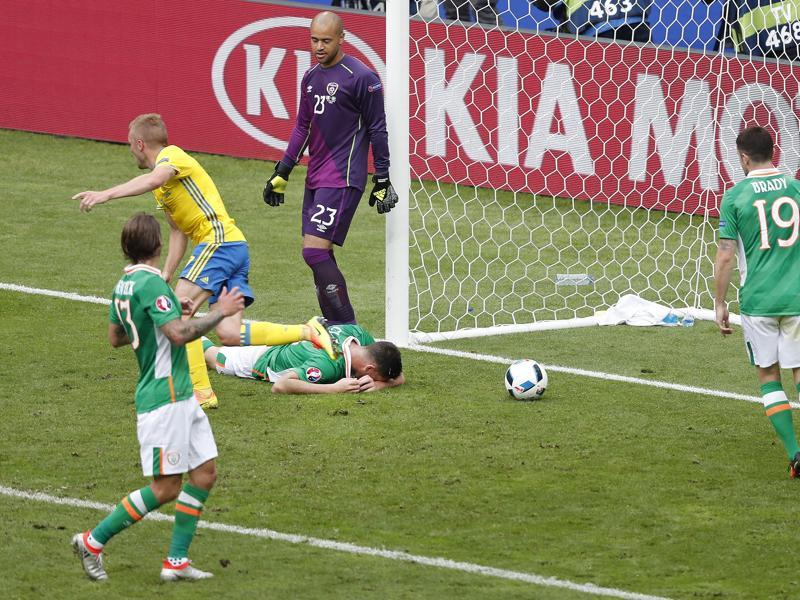 Republic of Ireland's Ciaran Clark, lies on the ground after scoring an own goal from a cross by Ibrahimovic. (AP)