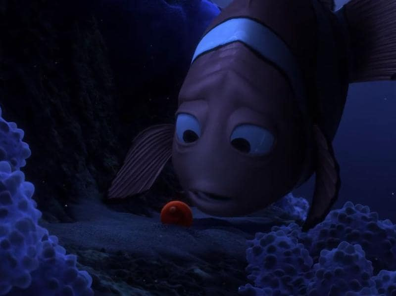 "6. Finding Nemo: ""Daddy's here. I promise I will never let anything happen to you. Nemo."" A fish loses his wife and almost all his children in an attack by a deadly fish and all that he is left with is a single, cracked egg, who he names Nemo. All this in just the first minute of the movie. (Youtube)"