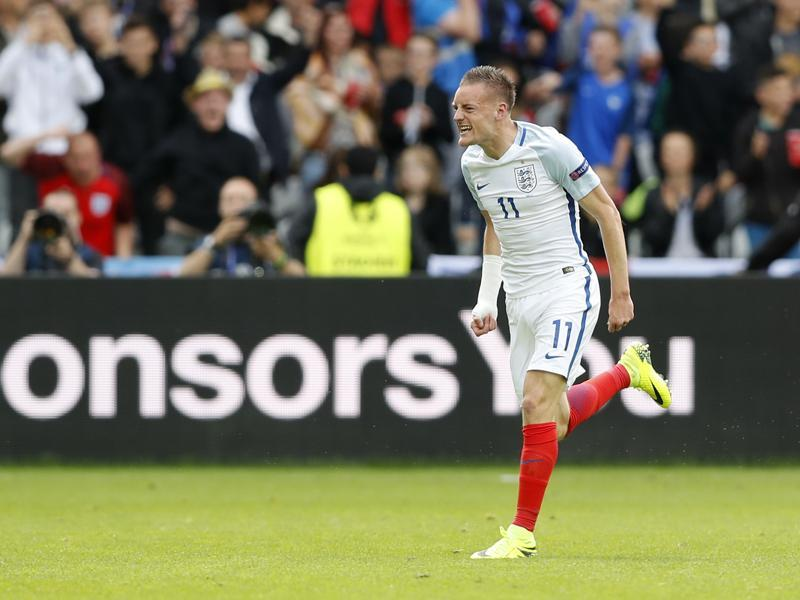 Jamie Vardy celebrates after scoring the equaliser for England. (REUTERS)