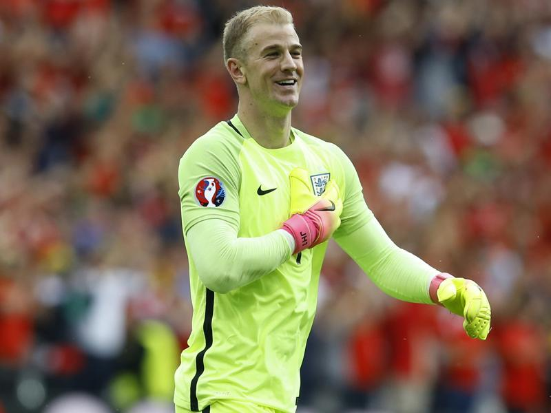 England goalkeeper Joe Hart is happy with the win. (AP)